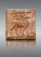 6th-7th Century Eastern Roman Byzantine  Christian Terracotta tiles depicting a stag - Produced in Byzacena -  present day Tunisia. <br />