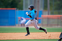 Miami Marlins Victor Mesa Jr. (10) runs the bases after hitting a triple during a Minor League Extended Spring Training game against the New York Mets on April 12, 2019 at the First Data Field Complex in St. Lucie, Florida.  (Mike Janes/Four Seam Images)