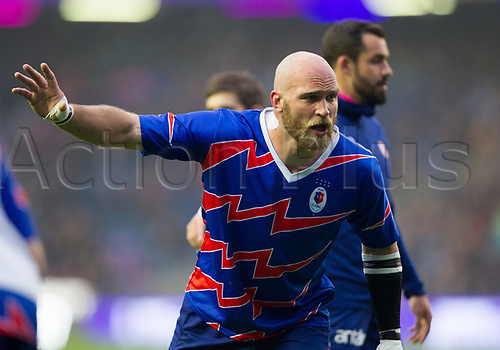 May 12th 2017, BT Murrayfield, Edinburgh, Scotland; European Rugby Challenge Cup Final; Gloucester versus Stade Francais;  Antoine Burban (Stade Français) durning the warmup session