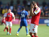 Fleetwood Town's Ched Evans shows his dejection at a missed chance<br /> <br /> Photographer Stephen White/CameraSport<br /> <br /> The EFL Sky Bet League One - Fleetwood Town v AFC Wimbledon - Saturday 4th August 2018 - Highbury Stadium - Fleetwood<br /> <br /> World Copyright &copy; 2018 CameraSport. All rights reserved. 43 Linden Ave. Countesthorpe. Leicester. England. LE8 5PG - Tel: +44 (0) 116 277 4147 - admin@camerasport.com - www.camerasport.com
