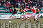 Kerry's Johnny Buckley and Cork's Eoin Keane.