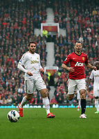 Pictured: (L-R) Angel Rangel, Ryan Giggs.<br /> Sunday 12 May 2013<br /> Re: Barclay's Premier League, Manchester City FC v Swansea City FC at the Old Trafford Stadium, Manchester.