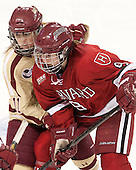 Caitlin Walsh (BC - 11), Lyndsey Fry (Harvard - 9) - The Boston College Eagles defeated the visiting Harvard University Crimson 3-1 in their NCAA quarterfinal matchup on Saturday, March 16, 2013, at Kelley Rink in Conte Forum in Chestnut Hill, Massachusetts.