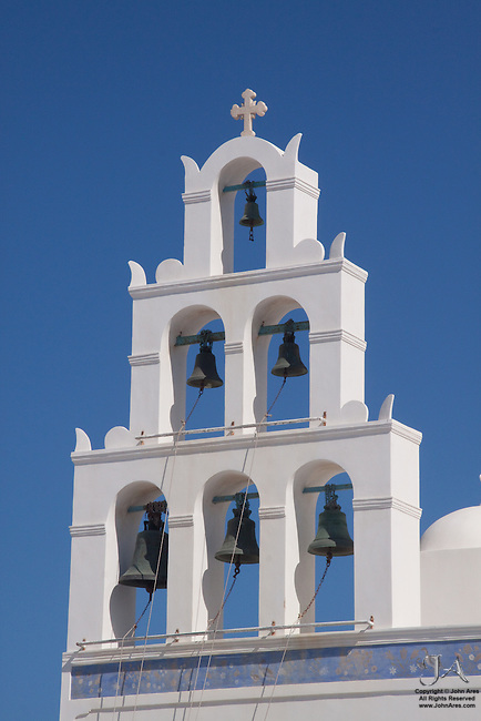 Five bells of a Greek Church in Santorini