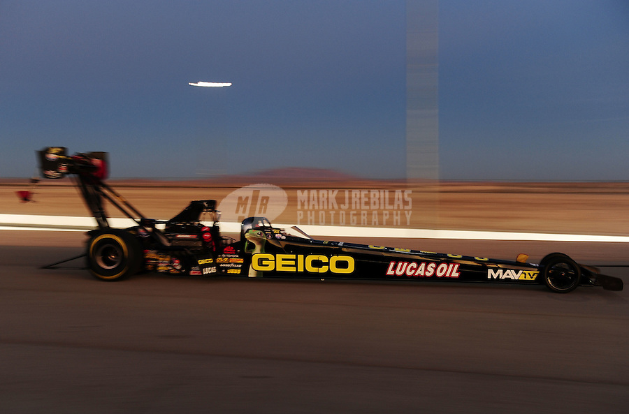 Oct. 28 2011; Las Vegas, NV, USA: NHRA top fuel dragster driver Morgan Lucas during qualifying for the Big O Tires Nationals at The Strip at Las Vegas Motor Speedway. Mandatory Credit: Mark J. Rebilas-