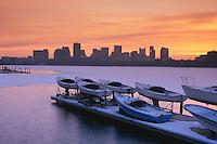MIT skyline Boston winter sunrise