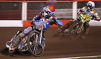 Heat 5: Kauko Nieminen (red) and Leigh Adams (white) - Lakeside Hammers vs Swindon Robins, Elite League Speedway at the Arena Essex Raceway, Purfleet - 03/09/10 - MANDATORY CREDIT: Rob Newell/TGSPHOTO - Self billing applies where appropriate - 0845 094 6026 - contact@tgsphoto.co.uk - NO UNPAID USE.