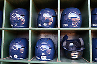 CARY, NC - FEBRUARY 23: Penn State University batting helmets during a game between Wagner and Penn State at Coleman Field at USA Baseball National Training Complex on February 23, 2020 in Cary, North Carolina.