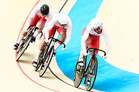 Picture by Alex Whitehead/SWpix.com - 09/12/2017 - Cycling - UCI Track Cycling World Cup Santiago - Velódromo de Peñalolén, Santiago, Chile - Russia's Denis Dmitriev, Shane Alan Perkins and Pavel Yakushevskiy compete in the Men's Team Sprint qualifying.
