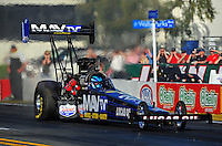 Feb. 9, 2012; Pomona, CA, USA; NHRA top fuel dragster driver Brandon Bernstein during qualifying at the Winternationals at Auto Club Raceway at Pomona. Mandatory Credit: Mark J. Rebilas-