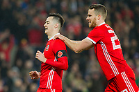 Tom Lawrence of Wales (left) celebrates scoring his side's first goal with Marley Watkins during the International Friendly match between Wales and Panama at the Cardiff City Stadium, Cardiff, Wales on 14 November 2017. Photo by Mark Hawkins.