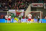 07.10.2018, Red Bull Arena, Leipzig, GER, 1. FBL 2018/2019, RB Leipzig vs. 1. FC N&uuml;rnberg/Nuernberg,<br /> <br /> DFL REGULATIONS PROHIBIT ANY USE OF PHOTOGRAPHS AS IMAGE SEQUENCES AND/OR QUASI-VIDEO.<br /> <br /> im Bild<br /> <br /> <br /> Verschossener Elfmeter von Timo Werner (#11, RB Leipzig), gehalten von Torhueter Fabian Bredlow (#1, 1. FC Nuernberg), <br /> <br /> Foto &copy; nordphoto / Dostmann