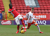 Blackpool's Chris Long chases down Charlton Athletic's Mouhamadou-Naby Sarr<br /> <br /> Photographer David Shipman/CameraSport<br /> <br /> The EFL Sky Bet League One - Charlton Athletic v Blackpool - Saturday 16th February 2019 - The Valley - London<br /> <br /> World Copyright © 2019 CameraSport. All rights reserved. 43 Linden Ave. Countesthorpe. Leicester. England. LE8 5PG - Tel: +44 (0) 116 277 4147 - admin@camerasport.com - www.camerasport.com