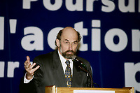 Montreal (Qc) CANADA -February , 1997<br /> -File Photo -<br /> <br /> Guy Bouthillier, President Societe Saint-Jean Baptiste (SSJB) speak at a book launch.<br /> <br /> (born in 1939) is a Quebecois political expert, teacher and Quebec nationalist leader. He was the President of the Saint-Jean-Baptiste Society of Montreal (SSJBM) from 1997 to 2003. He had become known previously as the head of the Mouvement Quebec francais, co-founded by a fellow SSJBM President, Francois-Albert Angers.