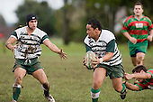 R. Asaera looks for support from J Davies. Counties Manukau Premier 1 McNamara Cup round 2 rugby game between Manurewa & Waiuku played at Mountfort Park, Manurewa on the 30th of June 2007. Manurewa led 19 - 3 at halftime and went on to win 31 - 3.
