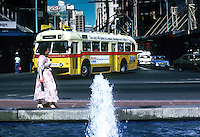A busy street in Auckland,  New Zealand 1980, South Pacific