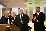 Thursday, May 31, Charlotte, North Carolina. Dedication ceremony for the new Billy Graham Library in Charlotte, North Carolina.. Former US president Jimmy Carter spoke.. Behind him (l to r) George Beverly Shay, Cliff Barrows and Franklin Graham.