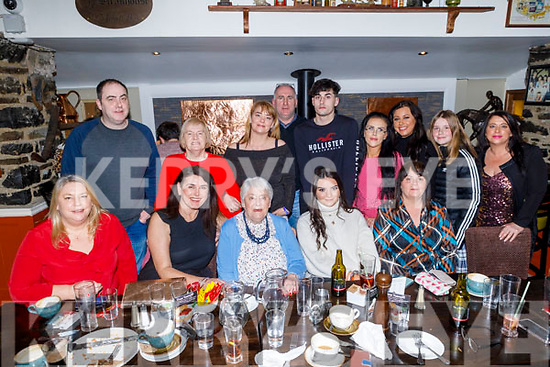 Marie Clifford from Connolly Park celebrating her 79th birthday in the Brogue Inn on Thursday night. <br /> Seated l to r: Rita Clifford, Joanne O'Brien, Marie, Tara and Marion Clifford.<br /> Back l to r: Garrett Clifford, Eileen Reidy (Williams), Christina, Michael and Gary Clifford, Aisling Thompson, Michaela Brosnan, Katie O'Driscoll and Marie Clifford.