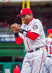 7 April 2016: Washington Nationals Manager Dusty Baker greets players during team introductions prior to the Nationals' Home Opening Game against the Miami Marlins at Nationals Park in Washington, DC. The Marlins defeated the Nationals 6-4 in their first meeting of the 2016 MLB season. Mandatory Credit: Ed Wolfstein Photo *** RAW (NEF) Image File Available ***
