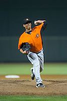 Frederick Keys relief pitcher Luis Gonzalez (48) in action against the Winston-Salem Dash at BB&T Ballpark on May 24, 2016 in Winston-Salem, North Carolina.  The Keys defeated the Dash 7-1.  (Brian Westerholt/Four Seam Images)