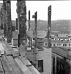 Pittsburgh PA:  View of the South Side from the roof of Rosenbaums. The building demolition of one of downtown Pittsburgh's grand department stores, Rosenbaums. Located at Penn Avenue and Sixth Street in Pittsburgh, the store closed in 1960 and taken down in 1963 to make way for the Sixth Avenue garage.  The demolition work was completed by D&H Building Wreckers.