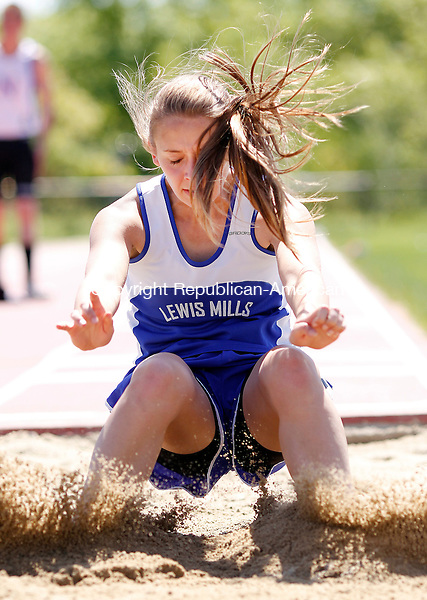 Litchfield, CT-19 May 2012-051912CM04-  Lewis Mills Hope Sherman competes in the long jump during the Berkshire League Track and Field Championships Saturday morning at Litchfield High School. Christopher Massa Republican-American