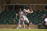 Scottsdale Scorpions center fielder Ronnie Dawson (4), of the Houston Astros organization, at bat in front of catcher Daulton Varsho (8) during an Arizona Fall League game against the Salt River Rafters at Salt River Fields at Talking Stick on October 11, 2018 in Scottsdale, Arizona. Salt River defeated Scottsdale 7-6. (Zachary Lucy/Four Seam Images)