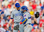 29 June 2017: Chicago Cubs pitcher Wade Davis greets catcher Willson Contreras after Davis closes out the game, recording his 16th save of the season against the Washington Nationals at Nationals Park in Washington, DC. The Cubs rallied to defeat the Nationals 5-4 and split their 4-game series. Mandatory Credit: Ed Wolfstein Photo *** RAW (NEF) Image File Available ***