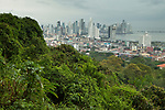 Tropical rainforest and city, Ancon Hill, Panama City, Panama