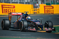 March 14, 2014: Jean-Eric Vergne (FRA) from the Scuderia Toro Rosso team exits turn four during practice session one at the 2014 Australian Formula One Grand Prix at Albert Park, Melbourne, Australia. Photo Sydney Low.