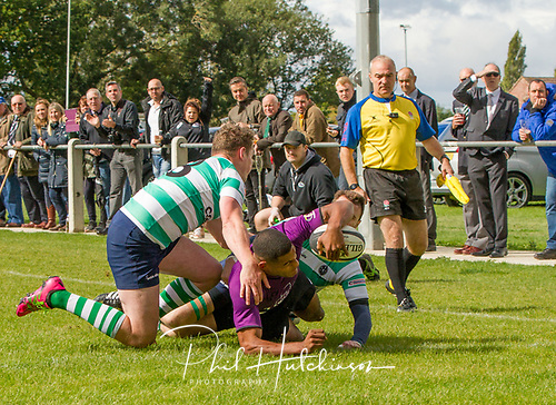 Leicester, England, 9th, September, 2017. <br /> <br /> Action in the National League 2 North rugby union match between Leicester Lions rfc and South Leicester rfc.  Winger Devon Constant opens the scoring for Lions despite tackles from Daniel Ireland and Myles Bean of South<br /> <br /> <br /> <br /> <br /> &copy; Phil Hutchinson