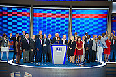 Members of the New York Congressional delegation join Representative Lowey on the podium at the 2016 Democratic National Convention held at the Wells Fargo Center in Philadelphia, Pennsylvania on Saturday, July 23, 2016.<br /> Credit: Ron Sachs / CNP<br /> (RESTRICTION: NO New York or New Jersey Newspapers or newspapers within a 75 mile radius of New York City)