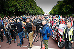 LONDON, ENGLAND, 22 May ,2014.  Bikers listen to a message from Lee Rigby's mother being read out as they mark the first anniversary of the murder of Fusilier Lee Rigby near his Woolwich barracks.
