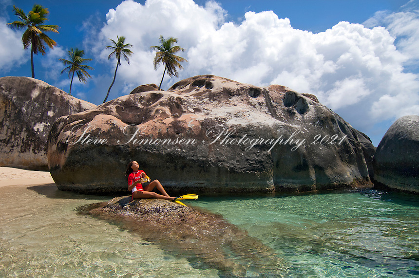 JeTaime Cerge snorkeling at The Baths<br /> Virgin Gorda<br /> British Virgin Islands