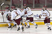 Melissa Bizzari (BC - 4), Alex Carpenter (BC - 5), Blake Bolden (BC - 10), Haley Skarupa (BC - 22) - The Boston College Eagles defeated the visiting Cornell University Big Red 4-3 (OT) on Sunday, January 11, 2012, at Kelley Rink in Conte Forum in Chestnut Hill, Massachusetts.