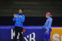 SCHAATSEN: HEERENVEEN: 24-10-2014, IJsstadion Thialf, Topsporttraining, Gianni Romme (trainer Team Continu), Thijsje Oenema, ©foto Martin de Jong