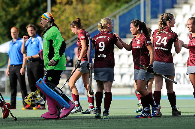 Mannheim, Germany, October 11: After the 1. Bundesliga Damen Saison 2014/15 field hockey match between Mannheimer HC and Muenchner SC on October 11, 2014 at the Mannheimer Hockey Club in Mannheim, Germany. Final score 1-2 (1-0). (Photo by Dirk Markgraf / www.265-images.com) *** Local caption ***
