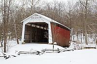 63904-03307 Beeson Covered Bridge at Billie Creek Village in winter, Rockville, IN