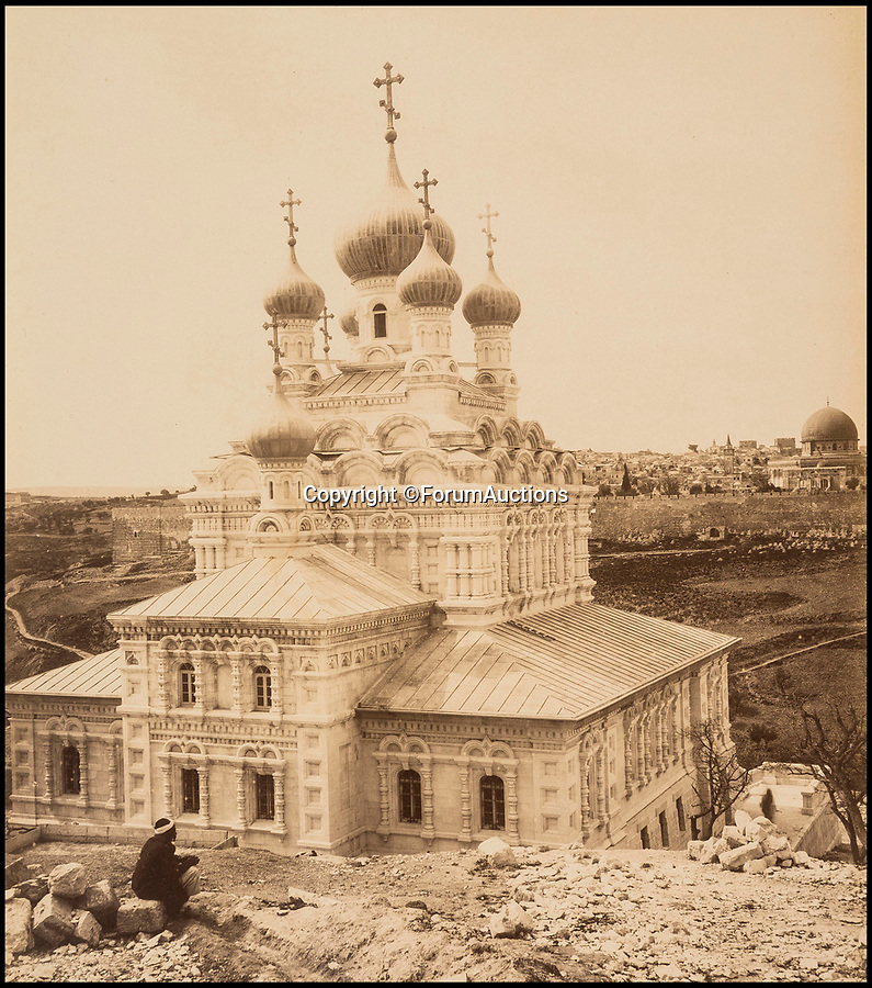 BNPS.co.uk (01202 558833)Pic: ForumAuctions/BNPS<br /> <br /> A Russian church in the Mount of Olives.<br /> <br /> Palestine 1870-80's.<br /> <br /> Captivating early photos of Palestine have come to light 140 years later which provide a fascinating glimpse into life in the Holy Land.<br /> <br /> French photographer Levant Bonfils' snaps of Palestine from the 1870s and 1880s include views of Jerusalem, the road to Bethlehem and Jaffa Port.<br /> <br /> It was a pivotal time in the history of Palestine which was experiencing a major influx of Jewish settlers fleeing persecution in Eastern Europe.