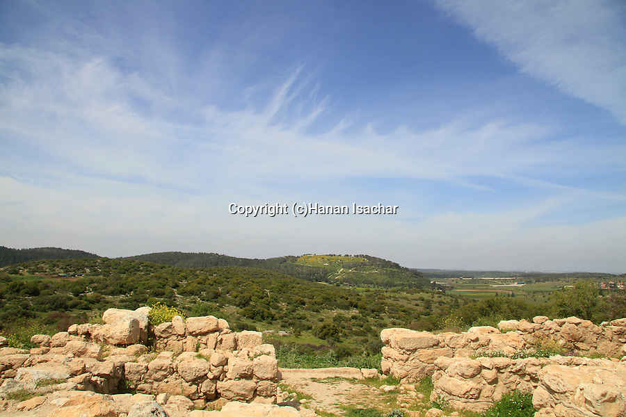 Israel, Shephelah, remains of the western City Gate at Khirbet Qeiyafa, Tel Azekah is in the background