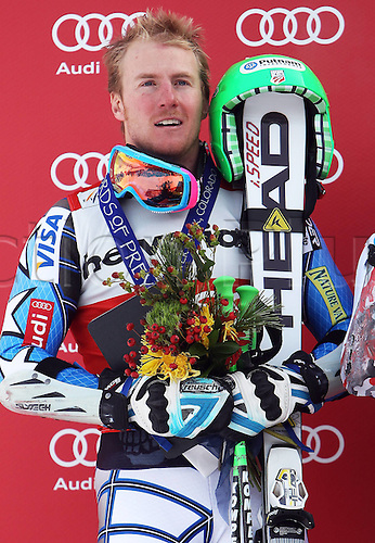04.12.2011. Beaver Creek Colorado USA Ski Alpine FIS World Cup Giant slalom the men Award Ceremony Picture shows Ted Ligety USA