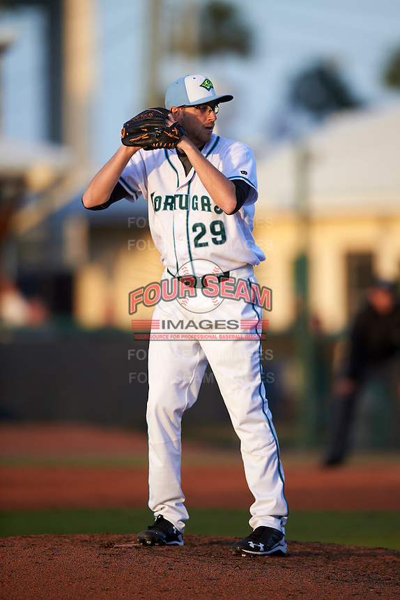 Daytona Tortugas relief pitcher Alex Powers (29) gets ready to deliver a pitch during a game against the Fort Myers Miracle on April 17, 2016 at Jackie Robinson Ballpark in Daytona, Florida.  Fort Myers defeated Daytona 9-0.  (Mike Janes/Four Seam Images)