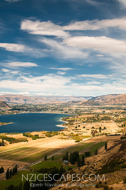 Lake Wanaka and its town as seen from Mt. Roy track, Central Otago, New Zealand