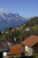 Homes above Lake Léman and the mountains.Vevay close to Montreux, Luasanne, Switzerland.