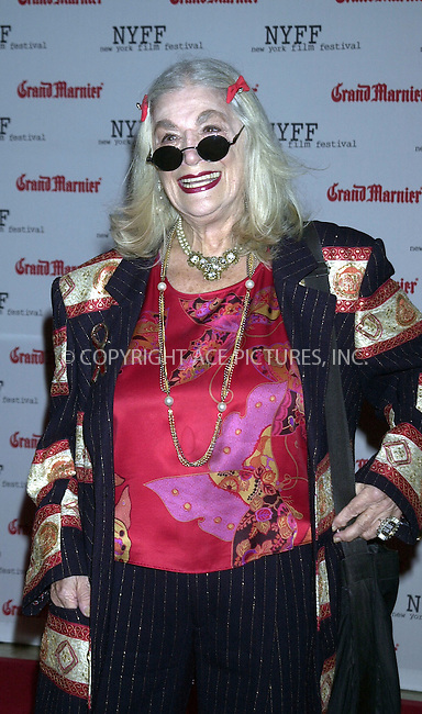 Sylvia Miles at the premiere of 'Mystic River,' kicking off the first night of the 41st annual New York Film Festival. New York, October 3, 2003. Please byline: NY Photo Press.   ..*PAY-PER-USE*      ....NY Photo Press:  ..phone (646) 267-6913;   ..e-mail: info@nyphotopress.com