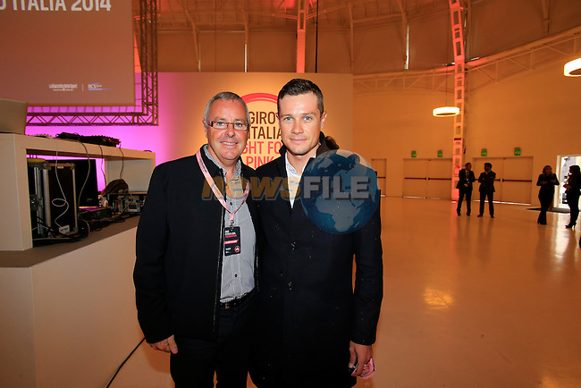Stephen and Nicolas Roche (IRL) at the 2014 Giro d'Italia Presentation held in the Palazzo del Ghiaccio in Milan, Italy. 7th October 2013.<br /> (Photo: Eoin Clarke/www.newsfile.ie)