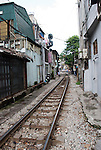 Hanoi, Vietnam, Railroad tracks run through the center of town. photo taken July 2008.
