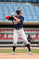 Brandt Stallings (30) of King's Ridge Christian School in Buford, Georgia playing for the Atlanta Braves scout team during the East Coast Pro Showcase on August 2, 2014 at NBT Bank Stadium in Syracuse, New York.  (Mike Janes/Four Seam Images)