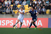 New Zealand's Rosie White and Japan's Saki Kumagai in action during the international women's football match between the New Zealand Football Ferns and Japan at Westpac Stadium in Wellington, New Zealand on Sunday, 10 May 2018. Photo: Dave Lintott / lintottphoto.co.nz