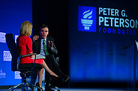 Washington, DC - May 23, 2017: U.S. Senator Mark Warner participates in the 2017 Fiscal Summit, hosted by the Peter G. Peterson Foundation, moderated by CNN Correspondent Dana Bash at the Andrew Mellon W. Mellon Auditorium in the District of Columbia May 23, 2017.  (Photo by Don Baxter/Media Images International)